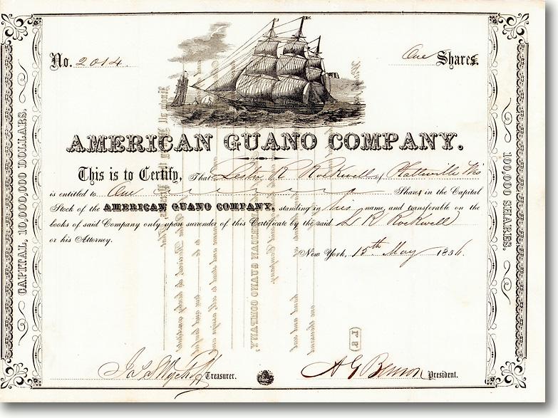 American Guano Co., New York, Aktie über 100$ von 1856 + BEDEUTENDE RARITÄT!