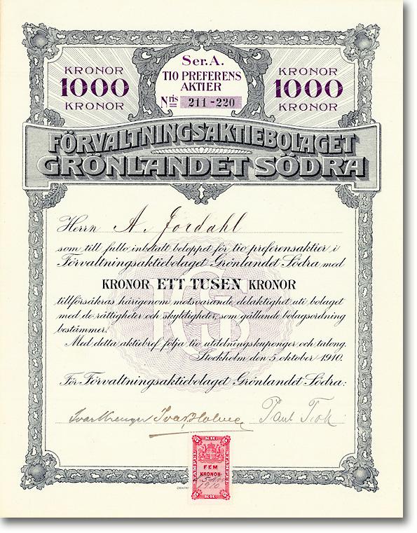 Förvalting Grönlandet Södra, Stockholm, Aktie von 1910 + AUTOGRAPH: IVAR KREUGER