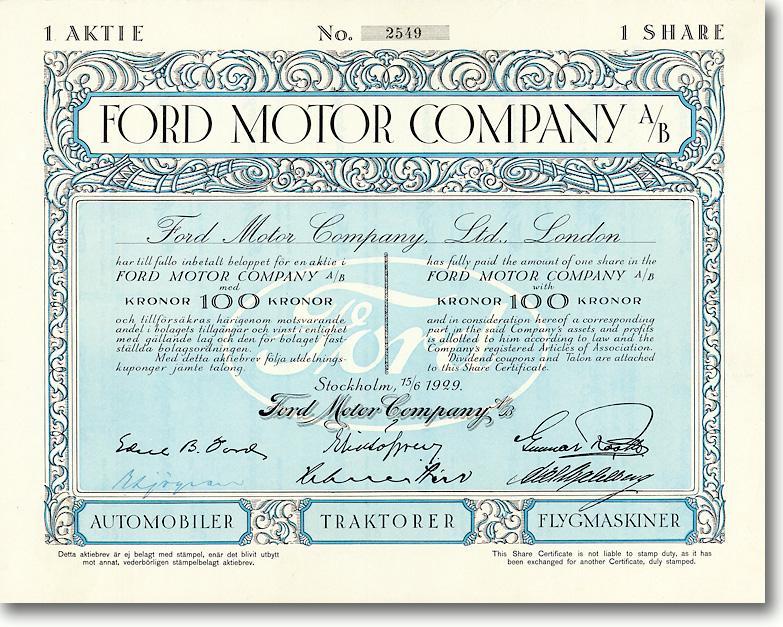 Ford Motor Company, Stockholm, Share über 1000 Kronen von 1929 + RARITÄT!