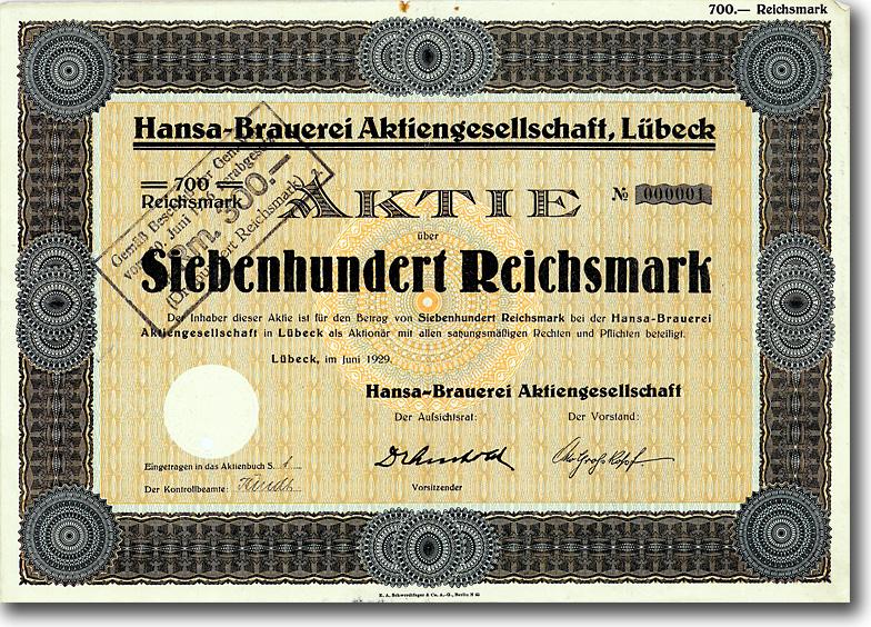 Hansa-Brauerei AG, Lübeck, 1929, 700 RM Aktie Nr. 1 !!!