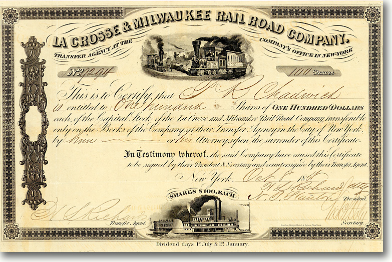 La Crosse & Milwaukee Rail Road, New York, Aktie von 1858 + HOCHDEKORATIV + RAR!