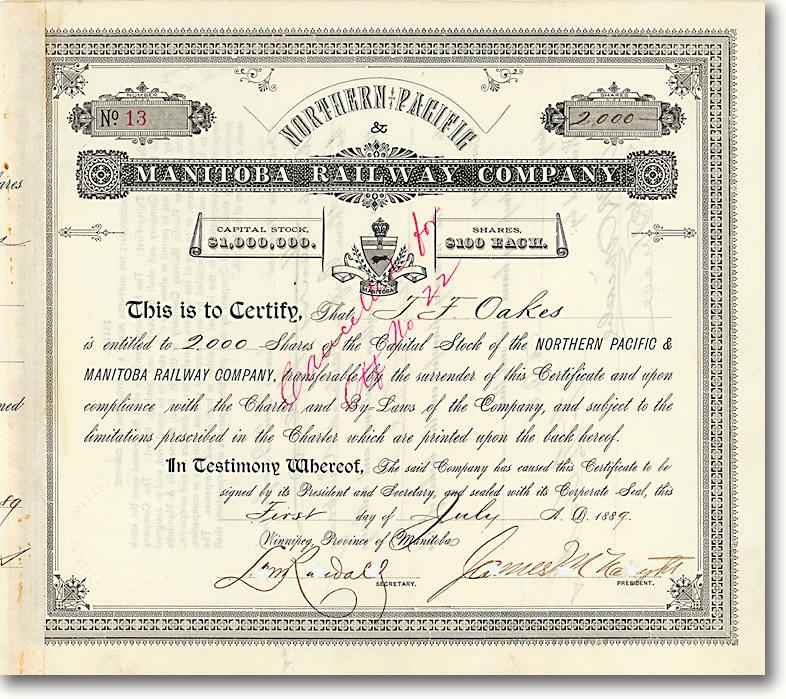 Northern Pacific & Manitoba Railway, Winnipeg, Aktie über 200.000 $ von 1889