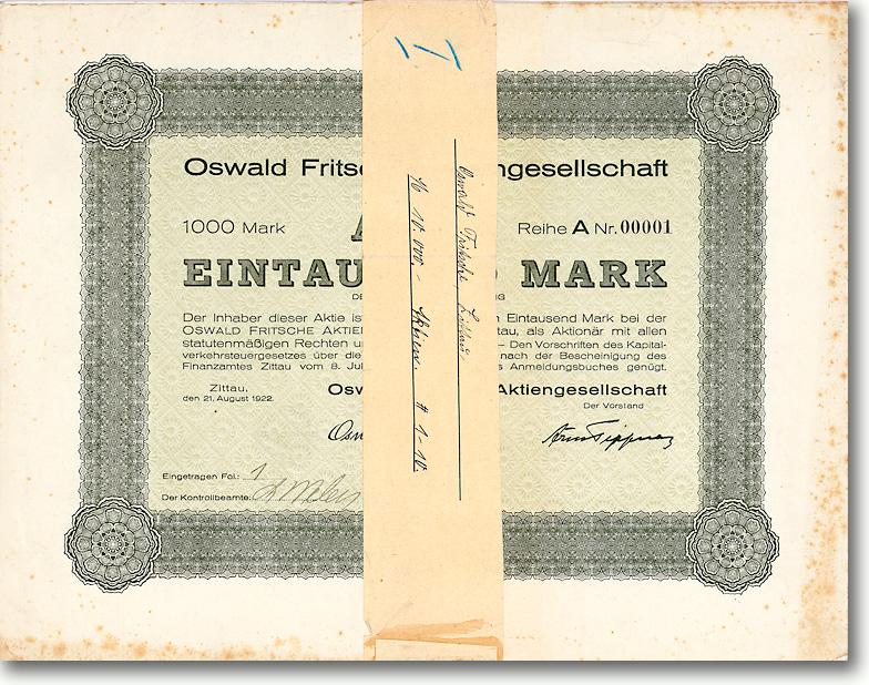 Oswald Fritsche AG, Zittau, 10 Gründeraktien v. 1922, dabei auch die Aktie Nr. 1