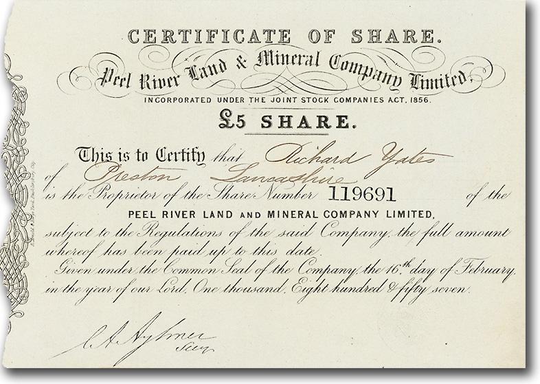 Australien: Peel River Land & Mineral Company, Aktie über 5 £ von 1857 + RARITÄT