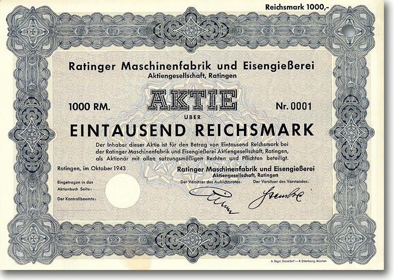 Ratinger Maschinenfabrik & Eisengießerei, Ratingen, 1943, 1000 RM Aktie Nr. 1 !!!