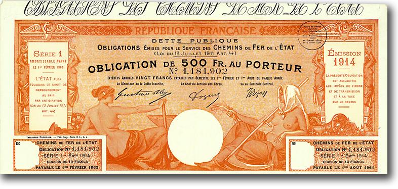 Republique Française, Chemins de fer de l'État, Anleihe von 1914 + RARITÄT