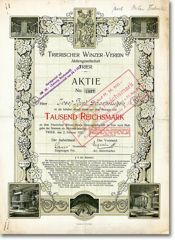 Trierischer Winzer-Verein AG, Trier, Aktie von 1923 + HOCHDEKORATIV + SELTENST!