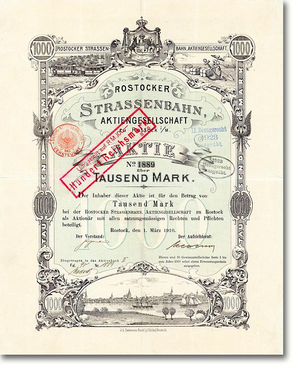 Rostocker Strassenbahn, Rostock, Aktie über 1000 Mark von 1910 + UNGELOCHT!