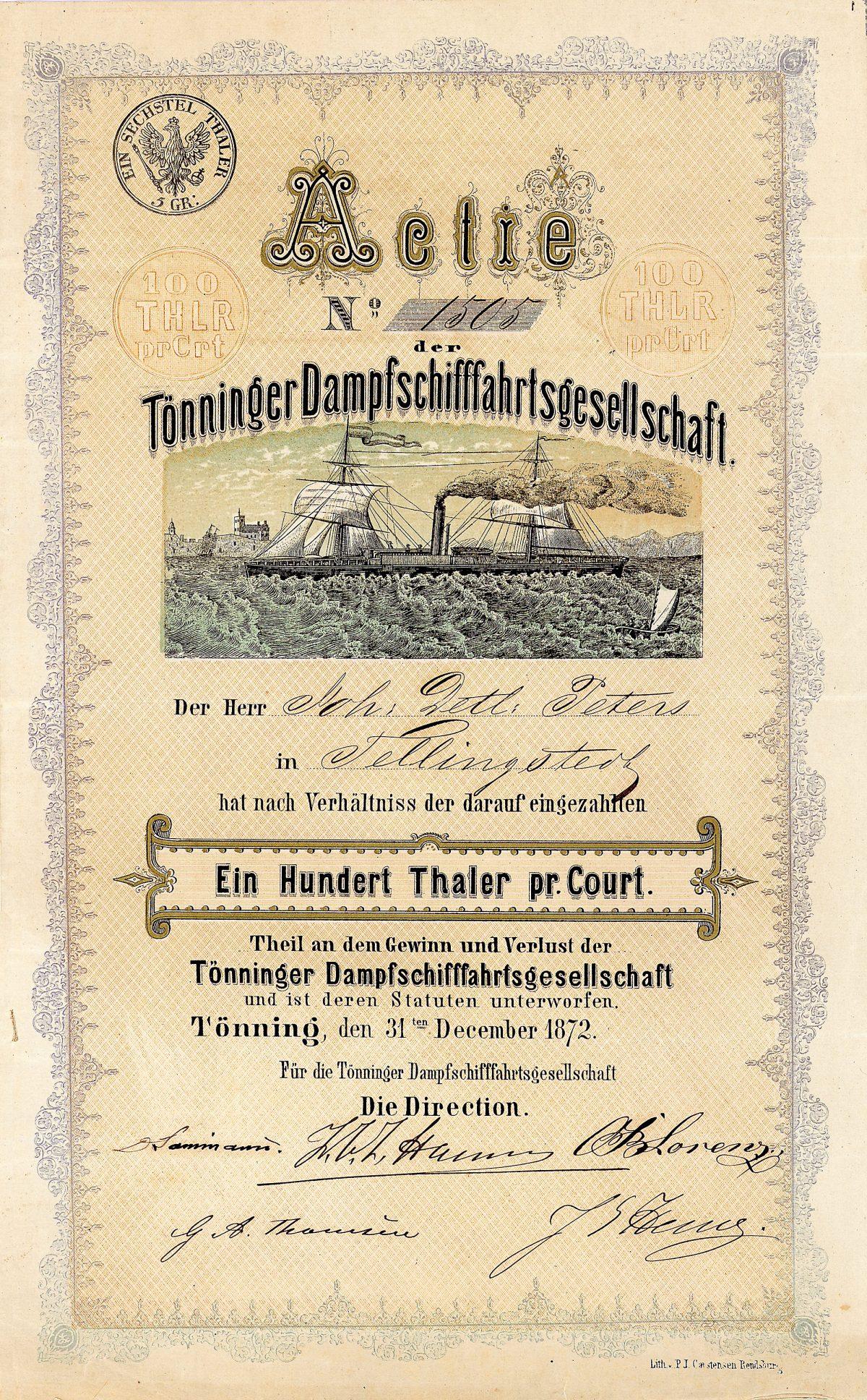 Los 804: Tönninger Dampfschifffahrtsgesellschaft, Aktie über 100 Taler von 1872