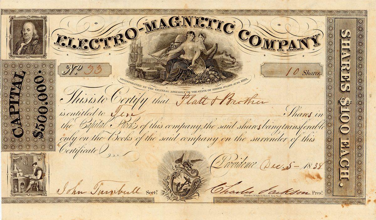 Los 952, Electro-Magnetic Company, Aktie von 1838, original signiert von Charles Thomas Jackson, dem wahren Erfinder der Telegraphie