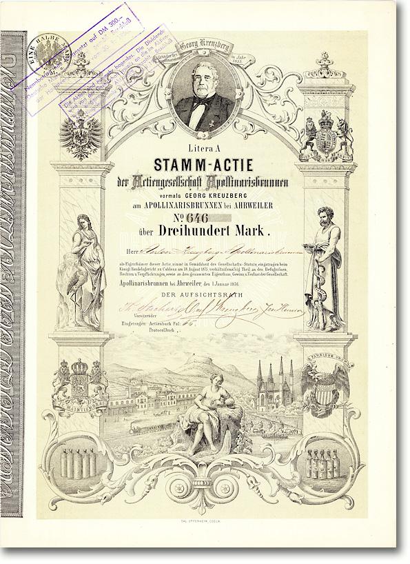 AG Apollinarisbrunnen vormals Georg Kreuzberg, Ahrweiler, Gründeraktie von 1876 - Wichtiges und herrliches Papier!