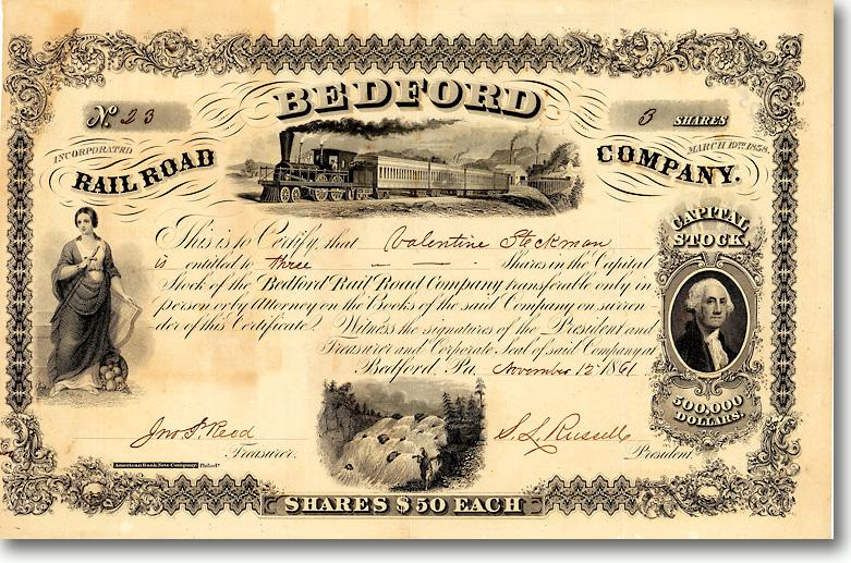 Bedford Railroad, Bedford, Pa., Aktie von 1861 + HOCHDEKORATIV + ÄUSSERST SELTEN!