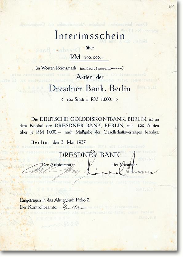 Dresdner Bank, Berlin, Aktie über 100.000 RM von 1937 - NUR 7 STÜCKE BIS HEUTE ERHALTEN GEBLIEBEN!