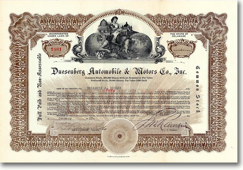 Duesenberg Automobile & Motors Company - Aktie von 1923 - ÄUSSERST SELTEN!