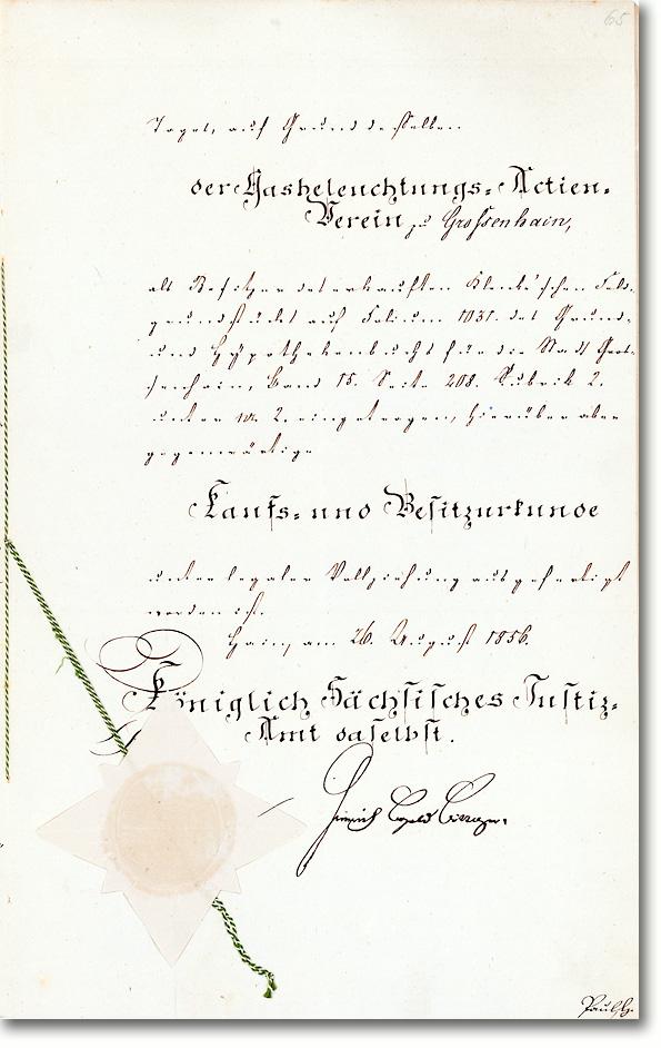 Gasbeleuchtungs-Actien-Verein zu Großenhain, Besitzurkunde 1.500 Taler von 1856<br />UNIKAT