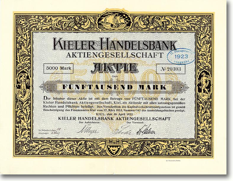 Kieler Handelsbank AG, Kiel, Aktie über 5000 Mark von 1923