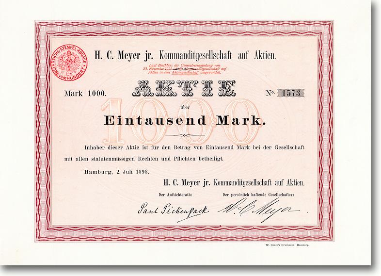 H. C. Meyer jr., Hamburg, Gründeraktie von 1898<br />HOCHBEDEUTEND + RARITÄT!
