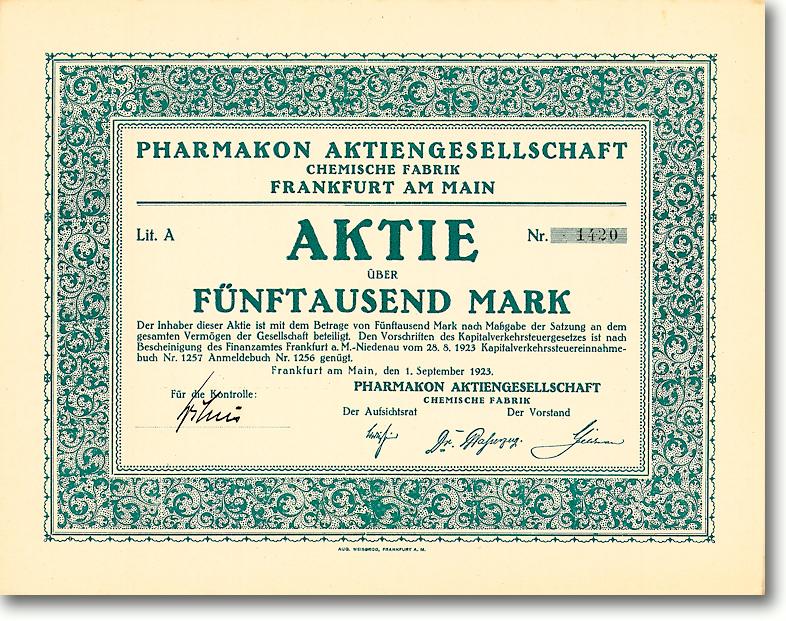 PHARMAKON AG Chemische Fabrik, Frankfurt a.M., Aktie von 1923 + ÄUSSERST SELTEN!