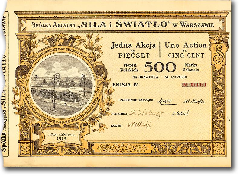 Spółka akcyjna Siła i Światło, Warschau, Aktie von 1920