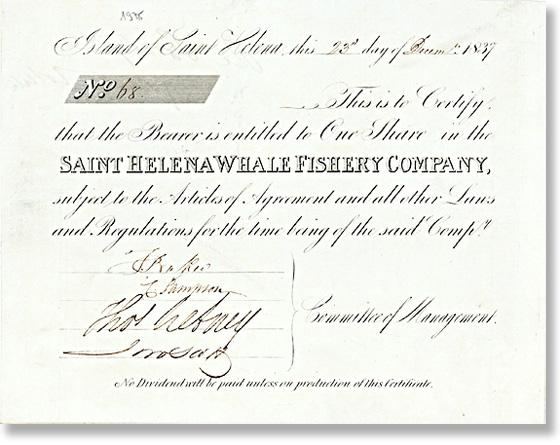 Saint Helena Whale Fisheries Co., Aktie von 1837