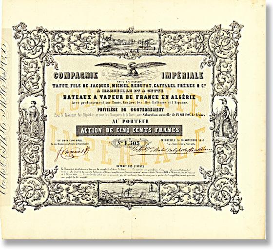 Compagnie Imperiale Bateaux à Vapeur de France en Algerie, Aktie von 1853