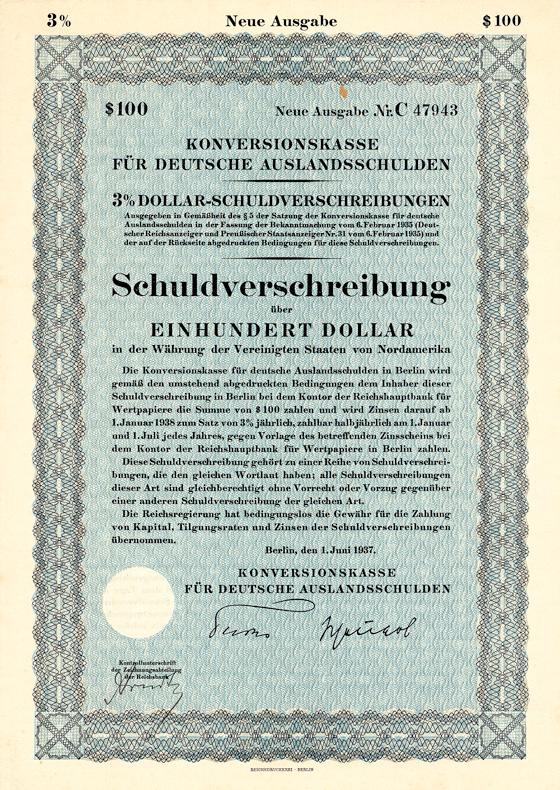 Konversionskasse für Deutsche Auslandsschulden, Anleihe über 100 US-$ 1937