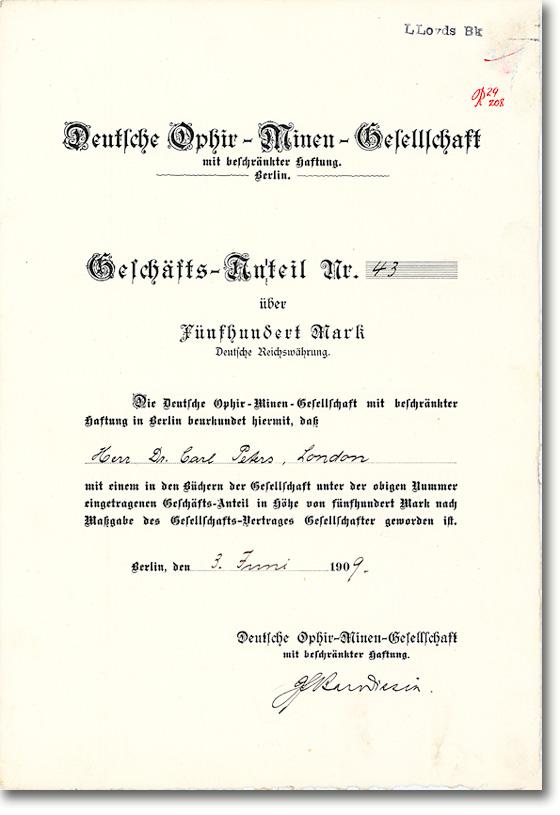 Deutsche Ophir-Minen-Gesellschaft mbH, Anteilschein über 500 Mark von 1909 - Rarität aus dem Besitz des Kolonialpioniers Dr. Carl Peters