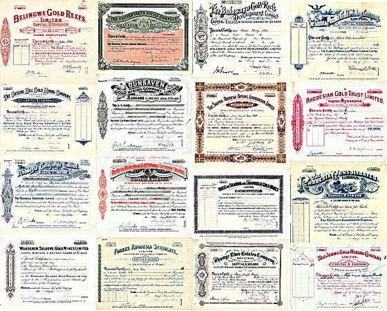 Rhodesien- & Südafrika-Sammlung: 147 Aktien, überwiegend Goldminen MUSEAL