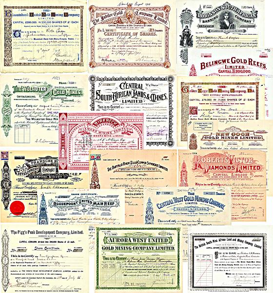 Südafrika-Sammlung, überwiegend Goldminen-Aktien, 39 Stücke von 1881-1938