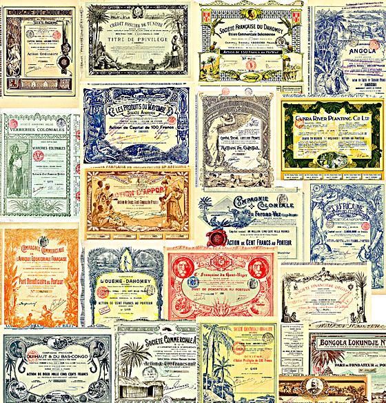 Hochwertige und dekorative Kolonial-Aktien, verschiedene Länder, 26 Stücke