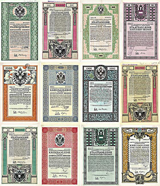 Kriegsanleihen der Habsburger Monarchie + Hochdekorative Stücke 1915-1917