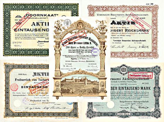 Brauerei-Aktien Deutschland 1873-1965, 43 Stücke + WERTVOLLE SAMMLUNG!