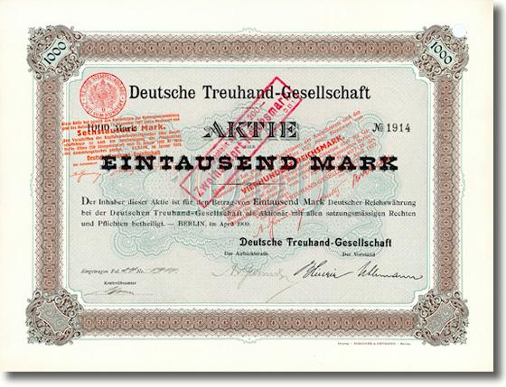 Deutsche Treuhand-Gesellschaft, Berlin, Aktie von 1909 Original signiert von Arthur von Gwinner, dem Vorstandsprecher der Deutschen Bank!