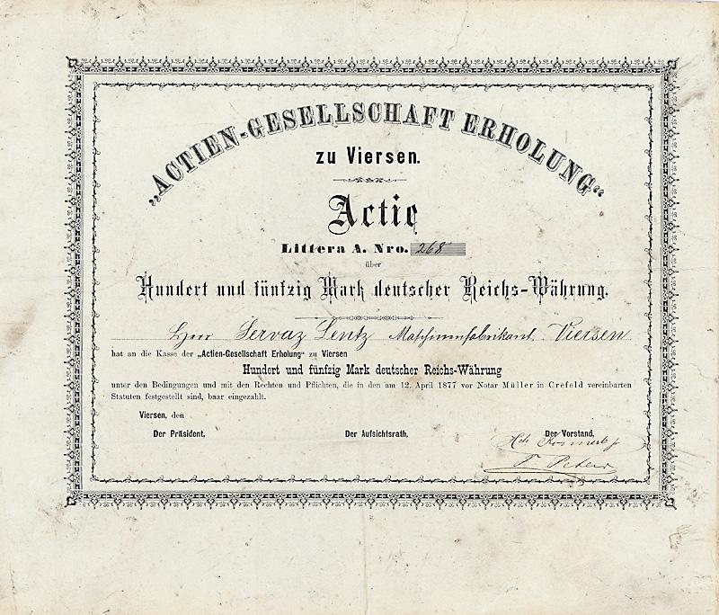 Actien-Gesellschaft Erholung zu Viersen Actie Lit. A über 150 Mark Viersen, von 1877