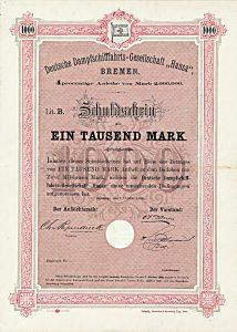 Deutsche Dampfschifffahrts-Gesellschaft Hansa, Schuldverschreibung über 1.000 Mark Bremen, 1.10.1888, UNIKAT