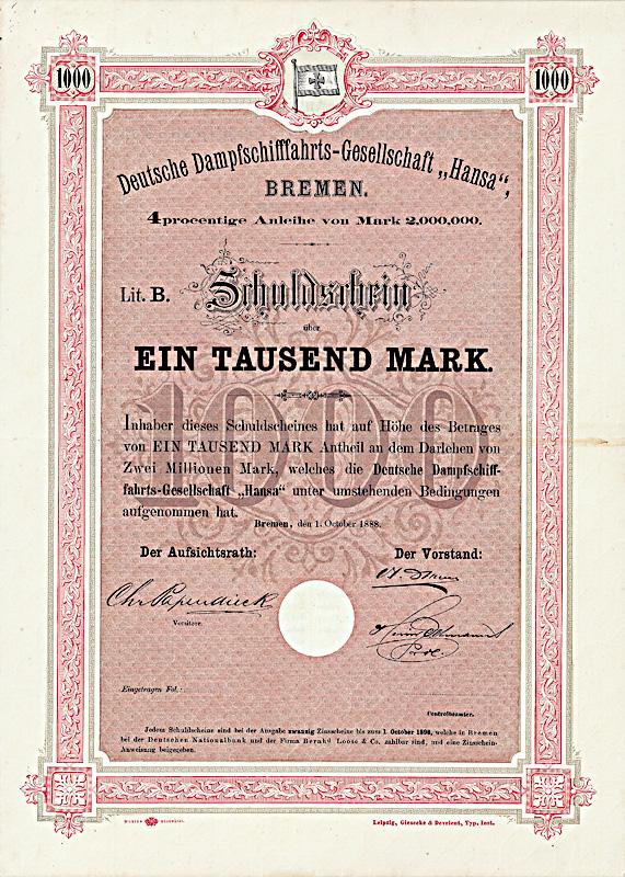 Deutsche Dampfschifffahrts-Gesellschaft Hansa 4 % Schuldverschreibung Lit. B über 1.000 Mark Bremen, 1.10.1888