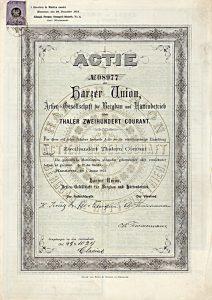 Harzer Union AG für Bergbau und Hüttenbetrieb - Gründeraktie über 200 Taler von 1873