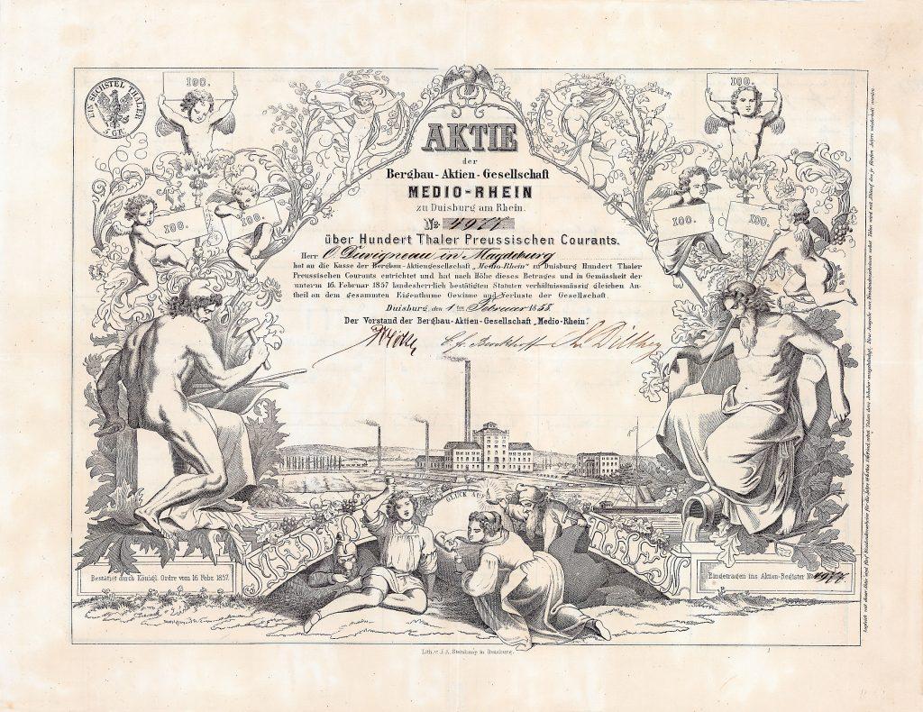Bergbau-AG Medio-Rhein, Aktie von 1858