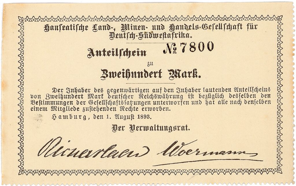 Hanseatische Land-, Minen- und Handelsgesellschaft für Deutsch-Südwestafrika Anteilschein 200 Mark, Nr. 7800 Hamburg, 1.8.1893