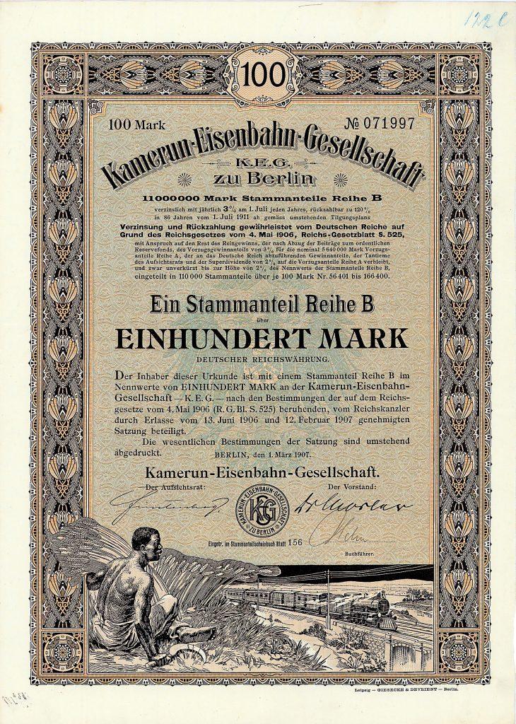 Kamerun-Eisenbahn-Gesellschaft Anteil B 100 Mark, Nr. 71997 Berlin, 1.3.1907