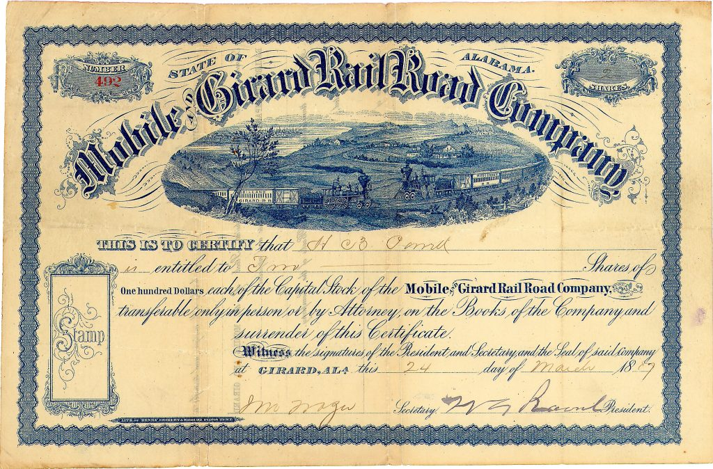 Mobile & Girard Railroad 2 shares à 100 $ 24.3.1887, Nr. 492 Girard, Alabama, 24.03.1887