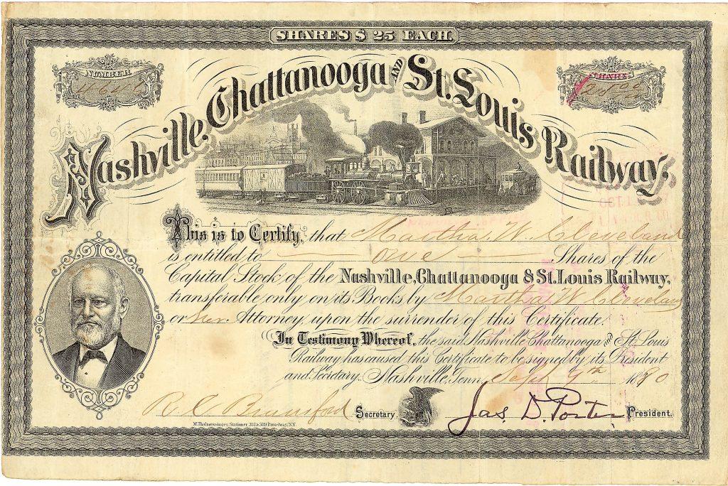 Nashville, Chattanooga & St. Louis Railway 100 shares à 25 $, Nr. 4641 Nashville, Tenn., 30.12.1880