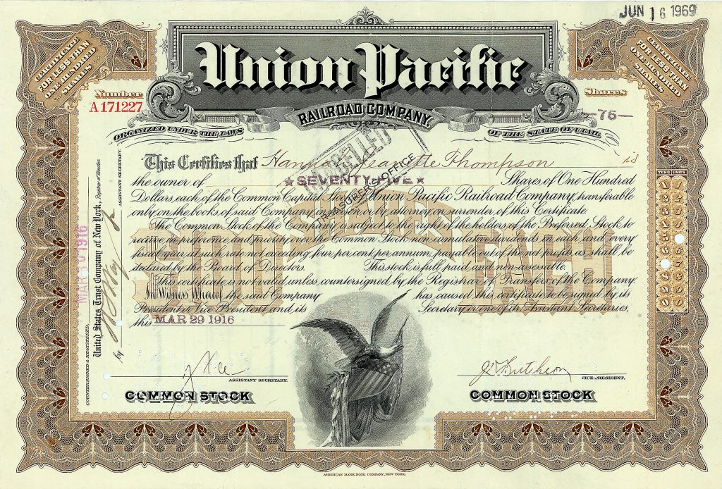 Union Pacific Railroad 75 shares à 100 $ 29.3.1916