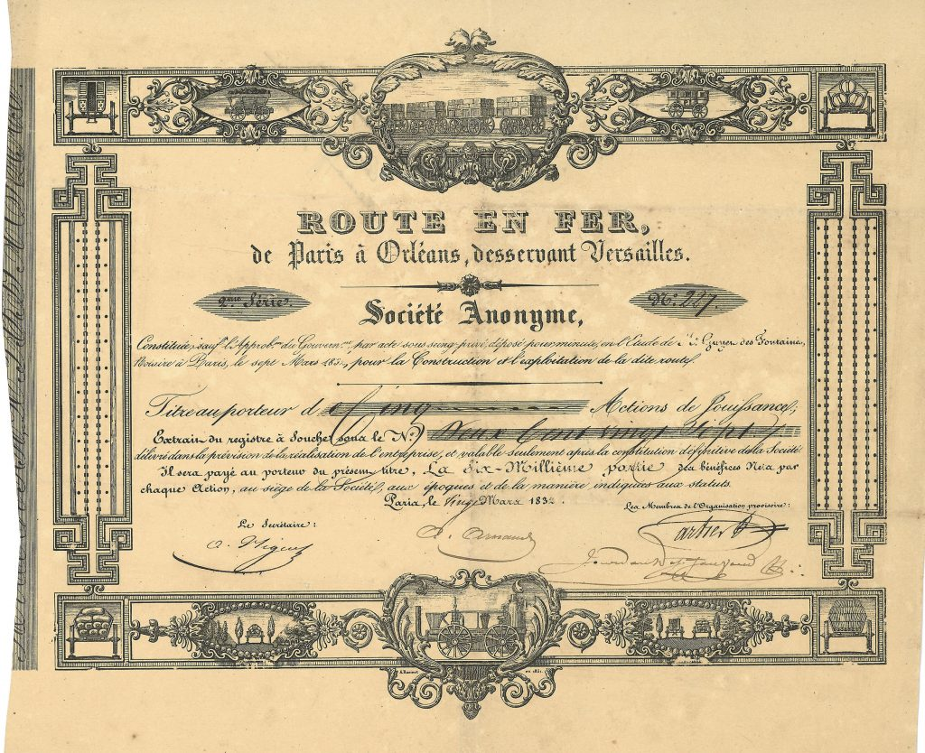 Historische Aktie der Route en Fer de Paris à Orleans, desservant Versailles Société Anonyme aus dem Jahr 1832, museale Rarität