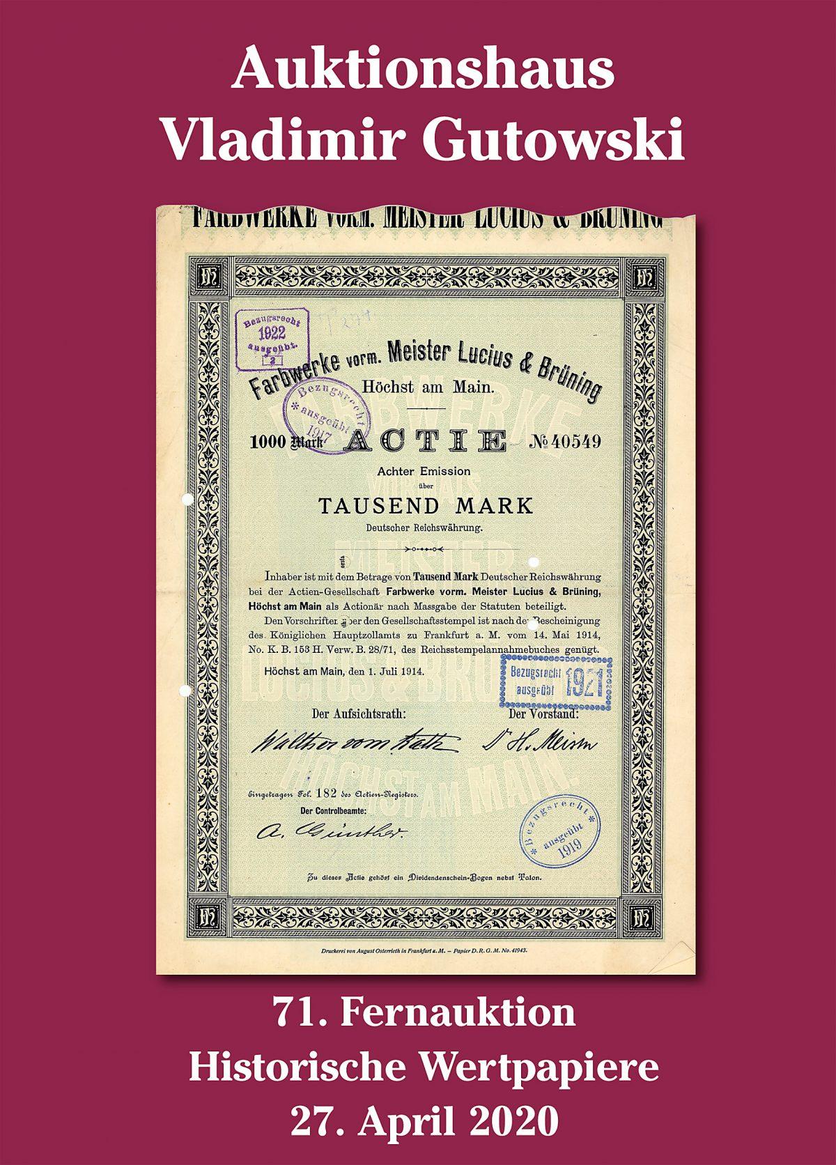 Katalogumschlag 71. Auktion