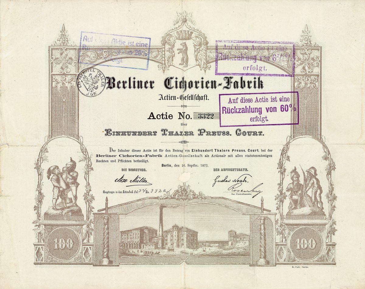 Berliner Cichorien-Fabrik AG, Gründeraktie von 1871