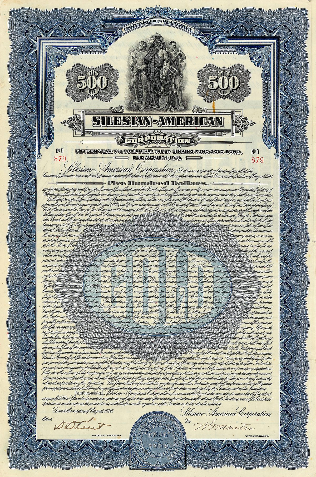Silesian-American Corporation, Gold Bond 500 Dollars, dated 1925