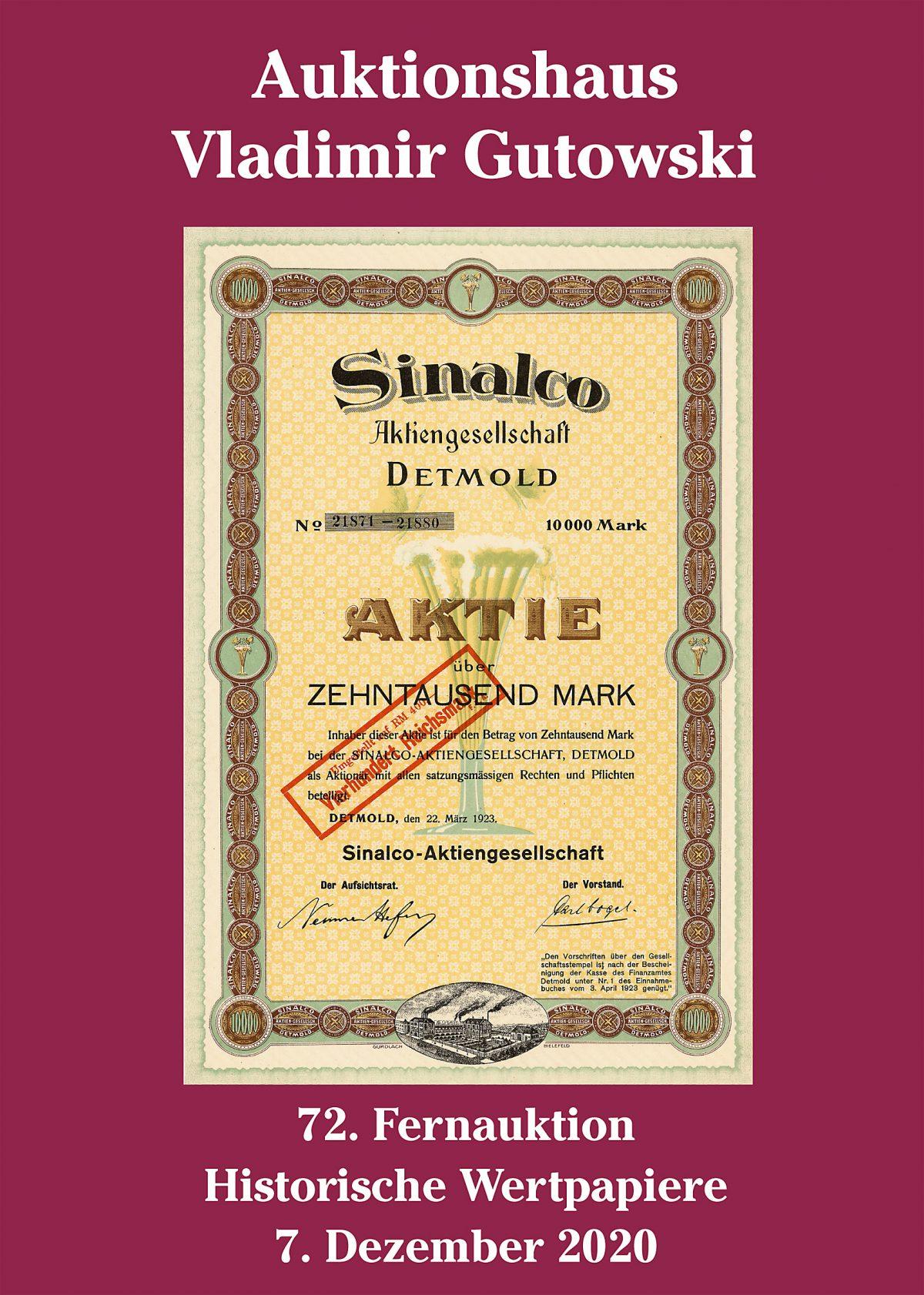 72. Gutowski-Auktion am 7.12.2020