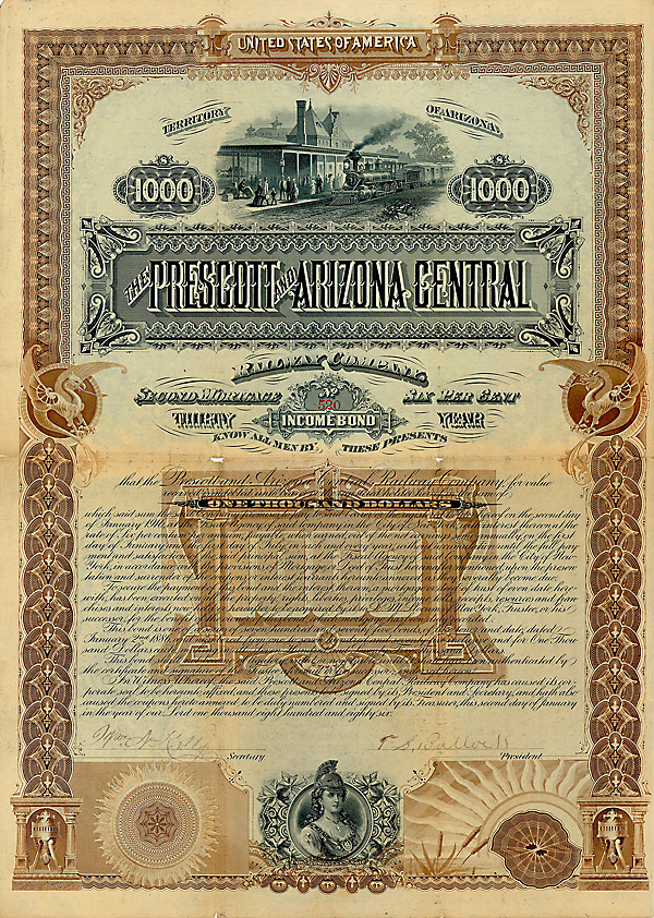 Prescott & Arizona Central Railway Company 6 % Bond über 1.000 $ Arizona, 2.1.1886