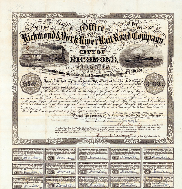 Richmond & York River Railroad Company 8 % Bond über 1.000 $ Richmond, Va., 1.1.1857